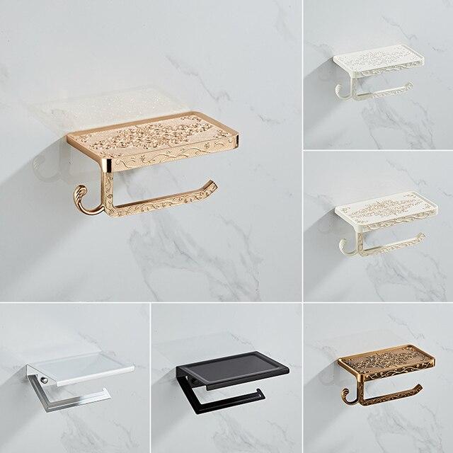 Bad Hardware Set Weiß Papier Handy Halter Raum Aluminium Antike Rolle Halter mit Regal Wc Papier Box Wand Halterung