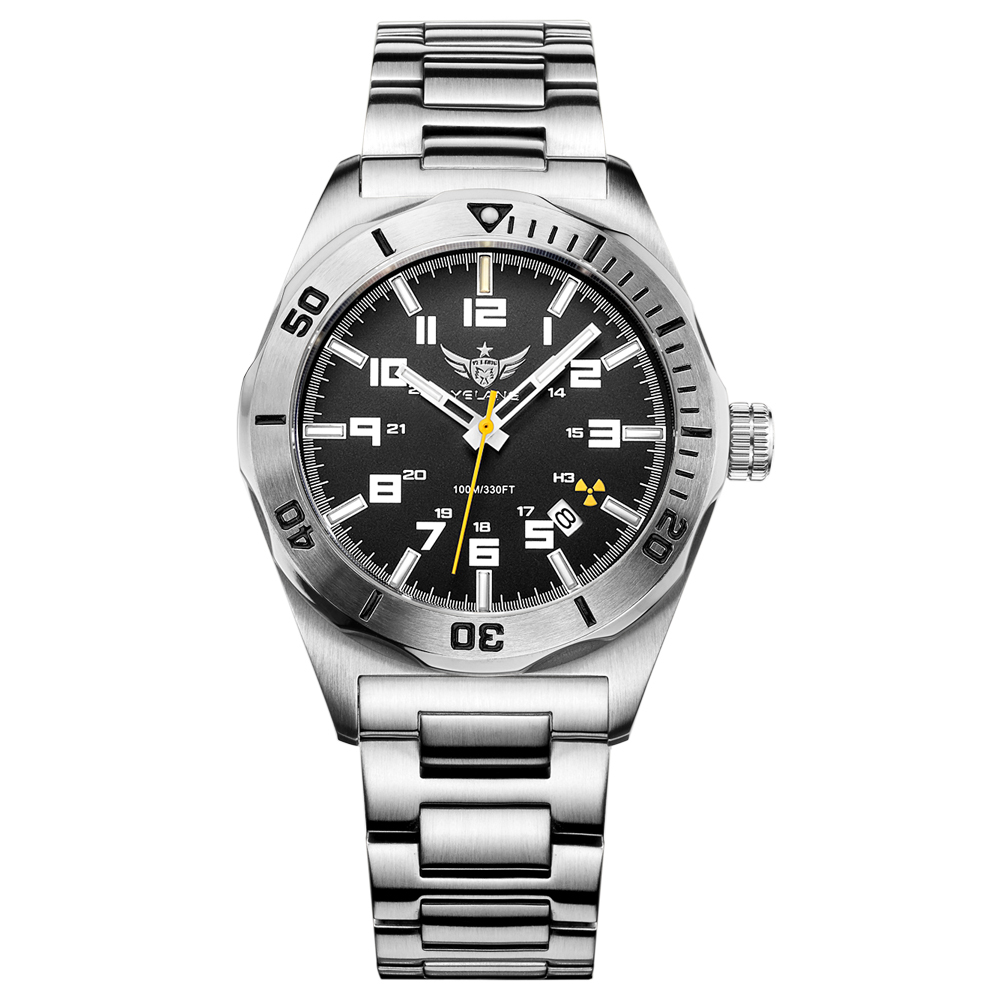 где купить YELANG V1014 mens steel waterproof 100m tritium gas self luminous business automatic mechanical watch по лучшей цене