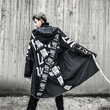 Male High Street Fashion Printing Hip Hop Punk Style Long Hooded Trench Jacket Male Loose Coat Cross Ribbon Overcoats Trench