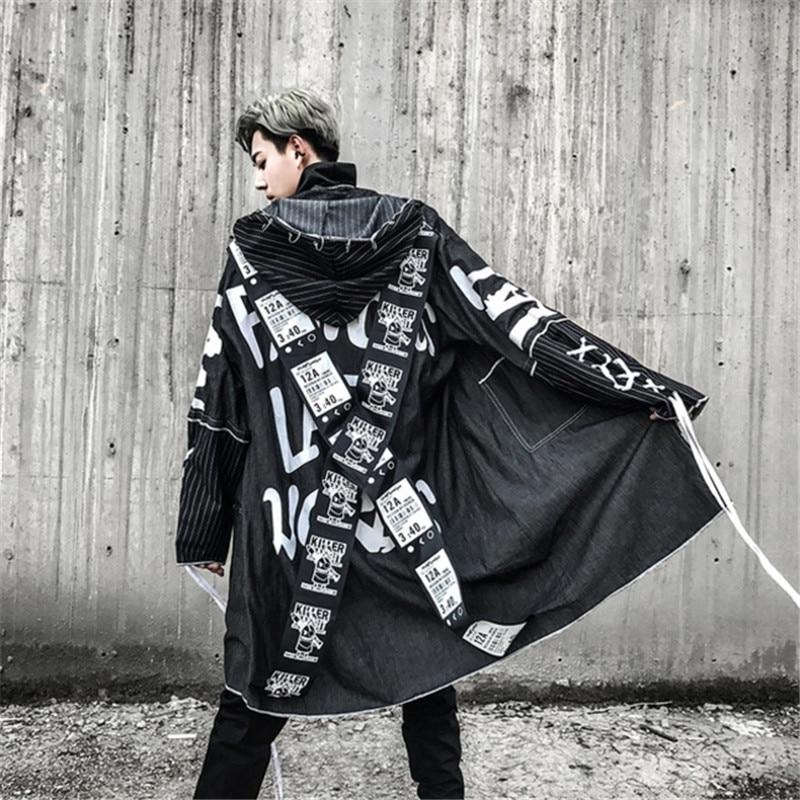 Mannelijke High Street Fashion Printing Hip Hop Punk Stijl Lange Hooded Geul Jas Mannelijke Losse Jas Cross Lint Overjassen Geul
