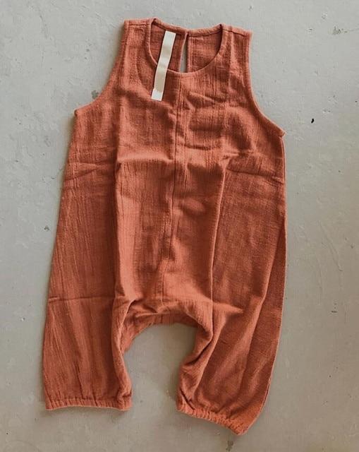 Ins Overalls Baby Boy Linen...