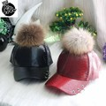 2016 Autumn winter fashion leather fur ball baseball cap child peaked cap snake effect leather hip-hop cap bending hats