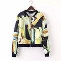 2016 chaqueta de las mujeres de primavera y verano arte Graffiti mujeres bomber chaqueta de Ocio de la cremallera de impresión completa