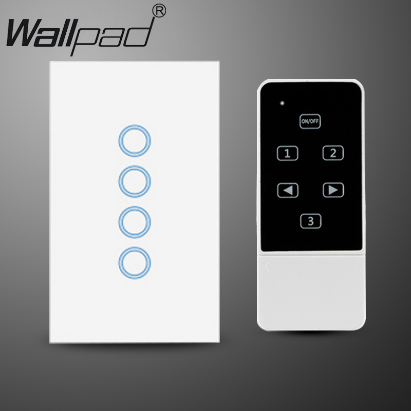 White US AU 118 120 Standard 4 Gang Glass Remote Control 4 Gang Switch Touch wall light switch with controller,Free shipping us standard touch remote control light switch 3gang1way black pearl crystal glass wall switch with led indicator mg us01rc