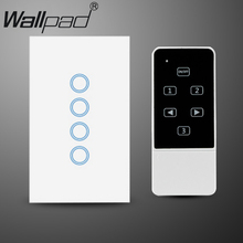 White US AU 118 120 Standard 4 Gang Glass Remote Control 4 Gang Switch Touch wall light switch with controller,Free shipping four gang wifi control wall switch us au standard touch control by app white b support double control with power monitor