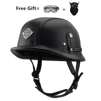 Open Face Half Leather Helmet Harley WWII Style BLACK German Motorcycle Half Helmet Chopper Biker Pilot Vespa camouflage