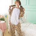 Warm 2016 New Winter Women Sleepwear High Quality Leopard Flannel Onesies Nightgown Animal Style Onsies Sleepwear For Girls