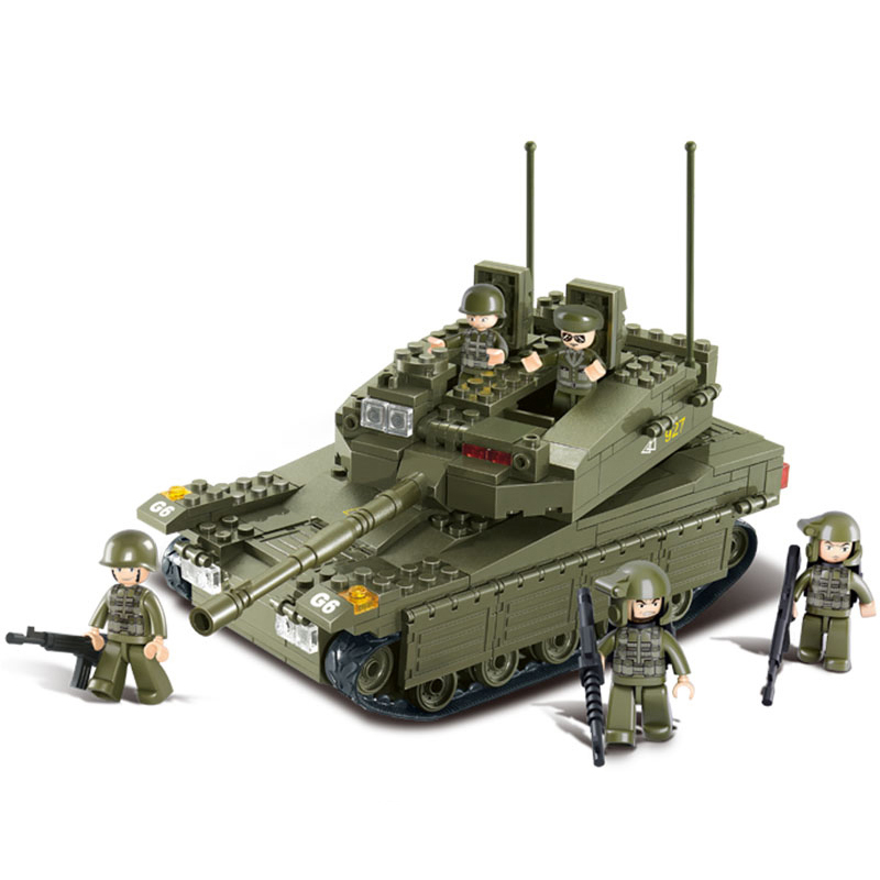 0305 SLUBAN 344Pcs Military WW2 Makava Tank Battle Model Building Blocks Enlighten Figure Toys For Children Compatible Legoe b0331 sluban city bus double decker 5pcs dolls model building blocks enlighten action figure toys for children compatible legoe