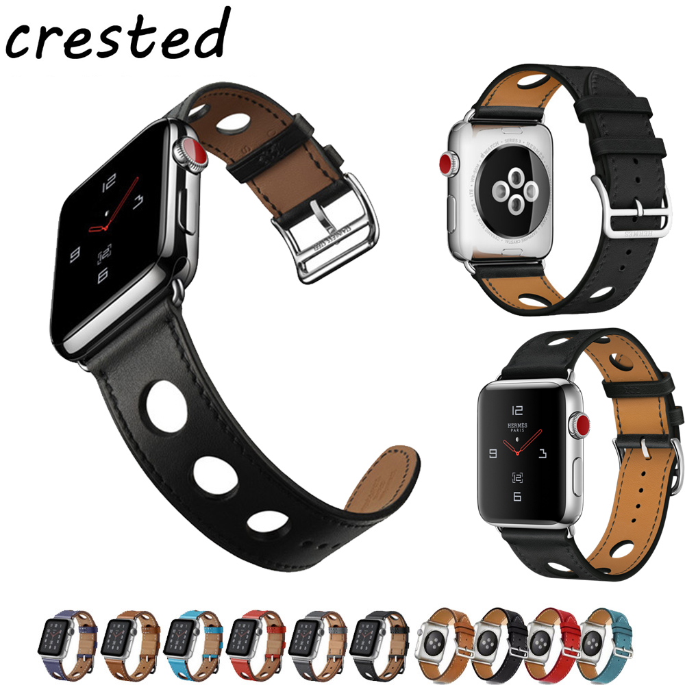 CRESTED leather strap for apple watch band 42mm 38mm bracelet single tour Genuine Leather wrist watchband for iwatch 3/2/1 belt цена
