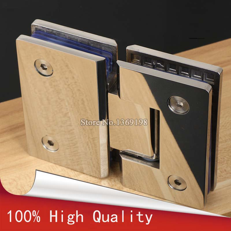NEW 1Pair=2PCS 304 Stainless Steel Frameless Bathroom Shower Glass Door Hinges Chrome Polished Furniture Hardware