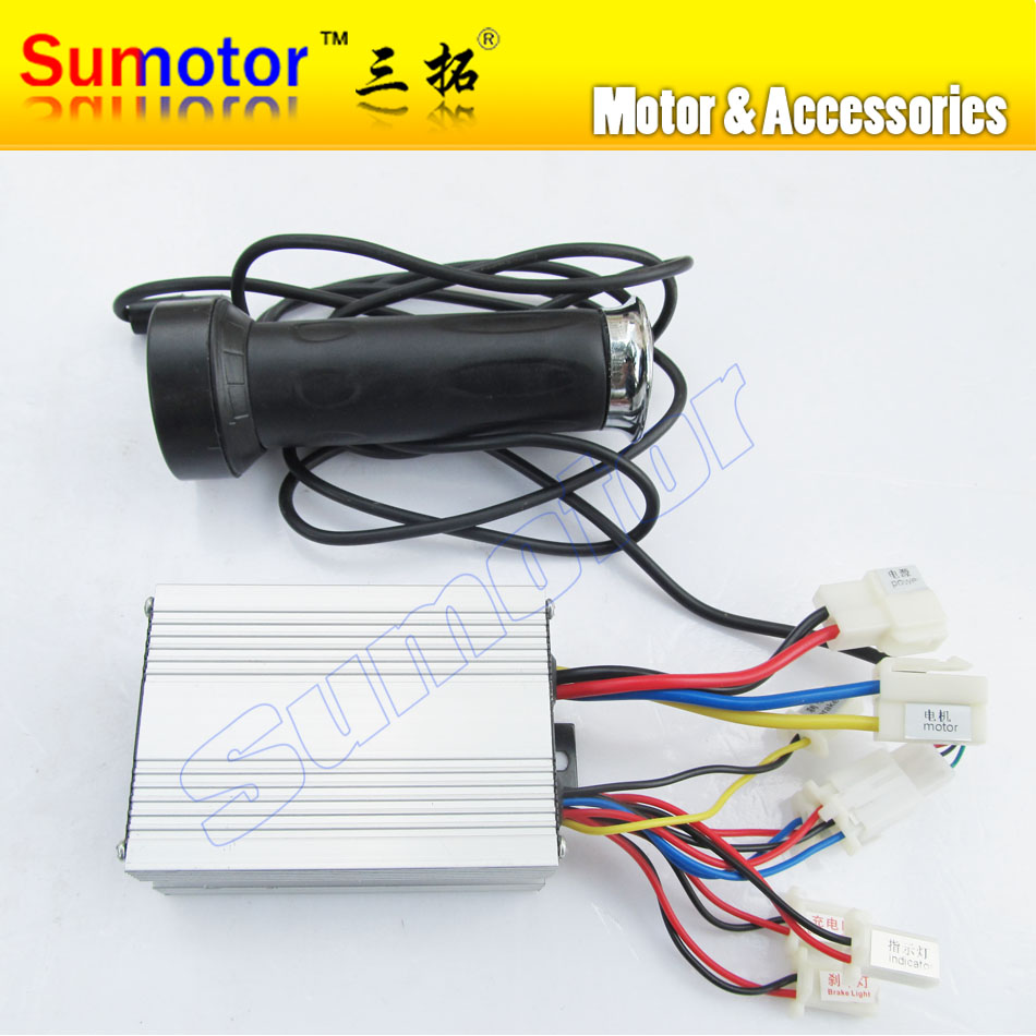 DC 48V 800W brush motor speed controller with Handle, for electric bicycle electric bike controller, e-bike controller scooter 36v dc motor speed controller electric bicycle finger throttle with handle bar with battery indicator and light switch