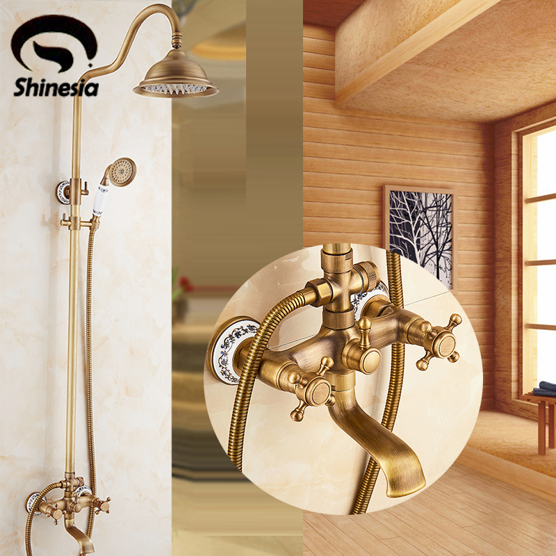 Elegant Antique Brass Bathroom Shower Faucet Set 8 Inch Shower Head Bathtub Mounted On Wall Of Shower Faucets Mixers