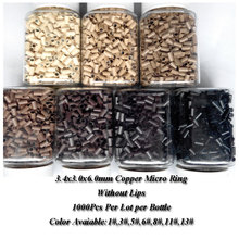 Black brown blonde micro Link 1000pcs 3.4x3.0x6.0mm Straight copper Ring Mini Locks