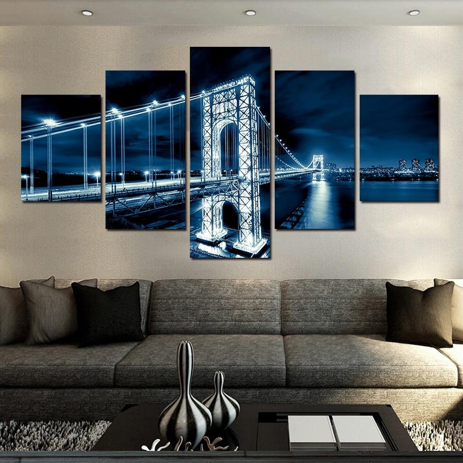 venta caliente moderno puente paisaje nocturno lienzo cuadros arte de la pared pintura rbol hermoso