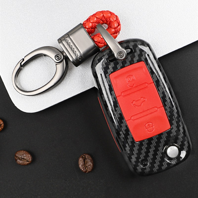 Carbon Fiber+Silica Gel Car Key Cover Case Shell For VW Golf Bora Jetta POLO GOLF Passat Skoda Octavia A5 Fabia SEAT Ibiza Leon
