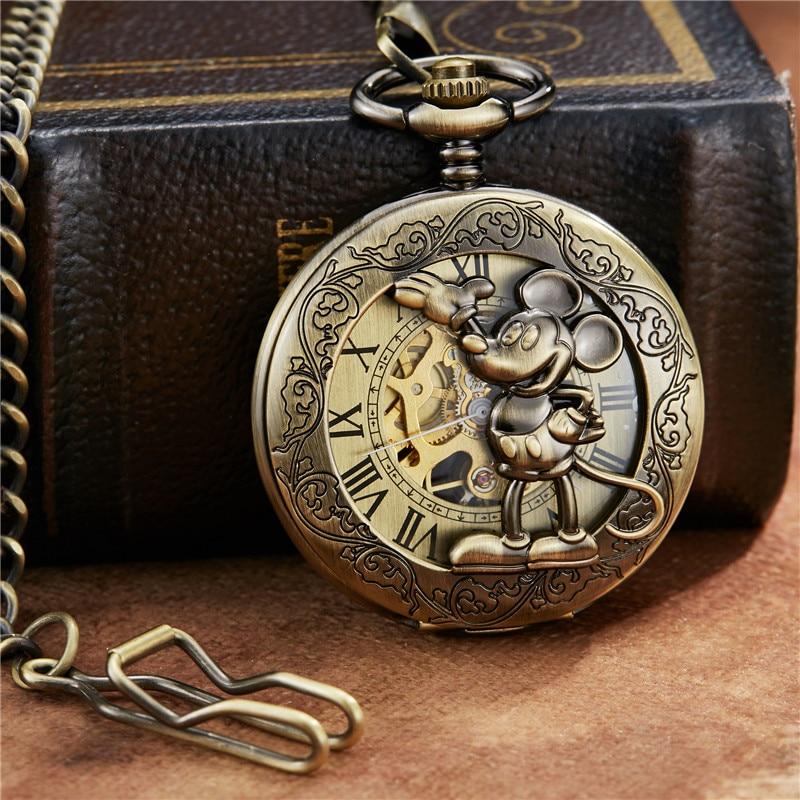 Bronze Romano Dial Mehanical Relógio FOB Cadeia