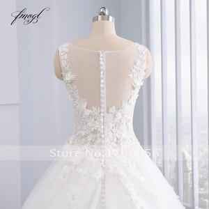 Image 5 - Fmogl Elegant Flowers Lace Princess Wedding Dress 2020 Appliques Beaded Vintage Bride dresses Vestido De Noiva Plus Size