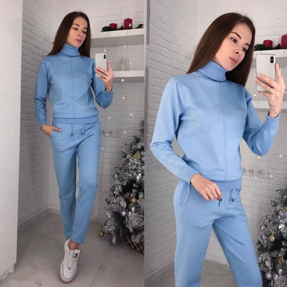 f187fd9f1b ... MVGIRLRU stylish knit suit womens two piece sets high neck mid line  sweater+pant tracksuit ...