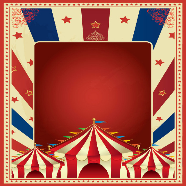 10x10FT Carnival Circus Red Tent Flags Stage Stars Kids