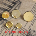 100pcs 8/10/12/14/16MM Brass Gold Color Round Stud earrings cameo cabochons base setting accessories