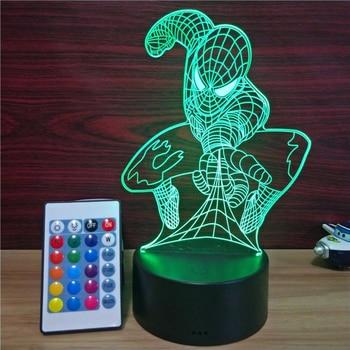 Man Décoration De 3d Illusion Lampe Table Couleur Spider Led 7 cF35uKTl1J
