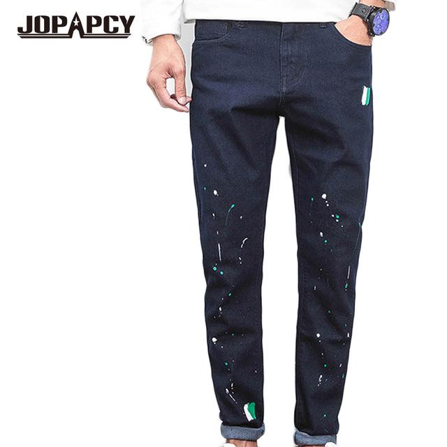 Hip Hop Rock Lnk Pouplar Lápiz Pantalones de Mezclilla Vaqueros de Los Hombres Rectos de La Manera Ocasional Impresa algodón Skinny Jeans Motorista MYA0469