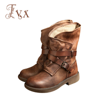 Women Boots Handmade Genuine Leather Buckle Ankle Spring Autumn Soft Comfortable 1592 1