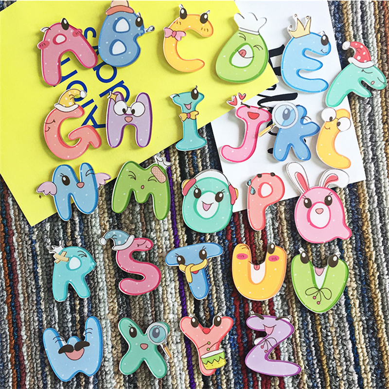 1PC Maxisin Acrylic English Letters Badges Icons on The Backpack Pin Decoration Badges Acrylic magnetic stickers for clothing