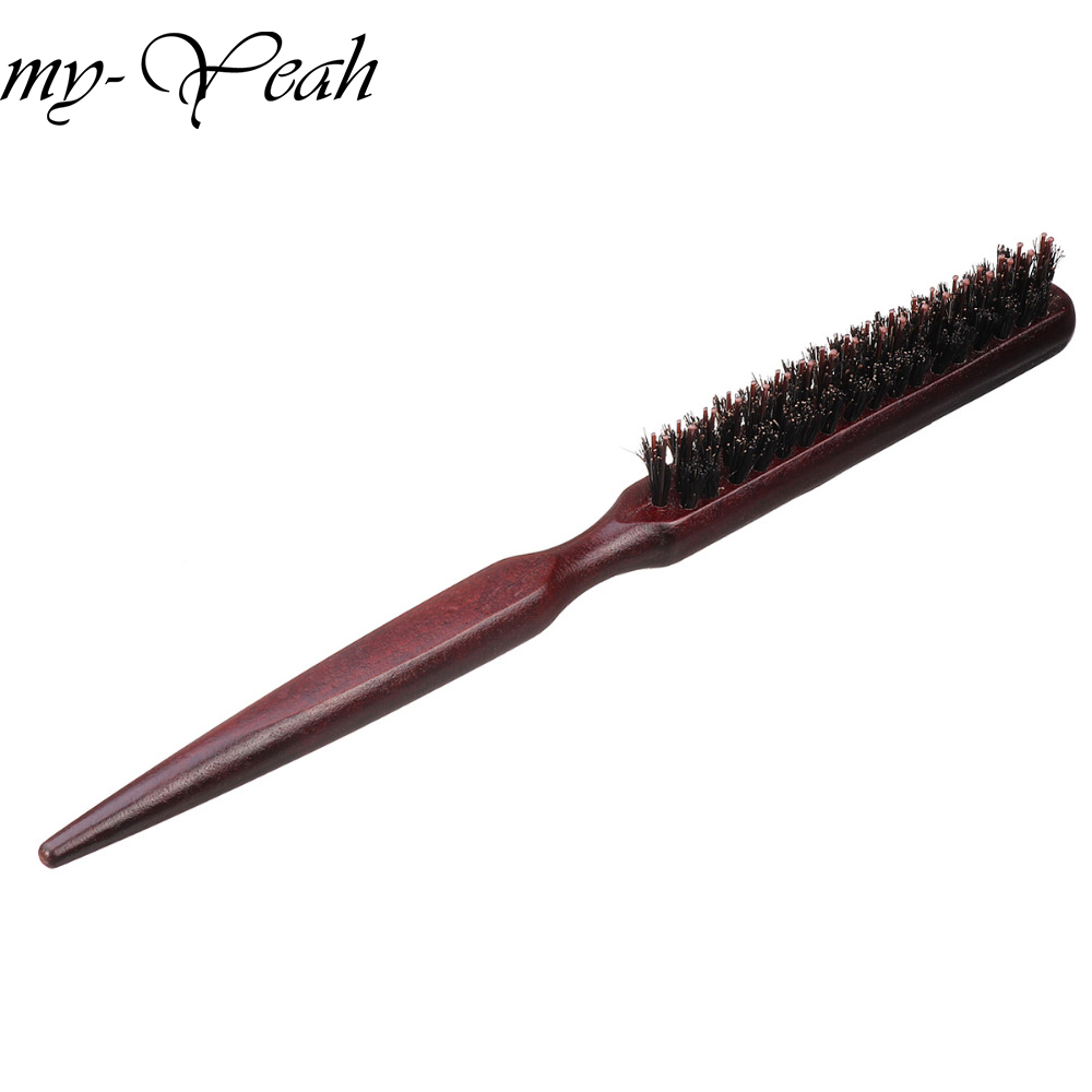 Pro Salon Wood Handle Natural Boar Bristle Hair Brush Detangling - Penjagaan rambut dan penggayaan
