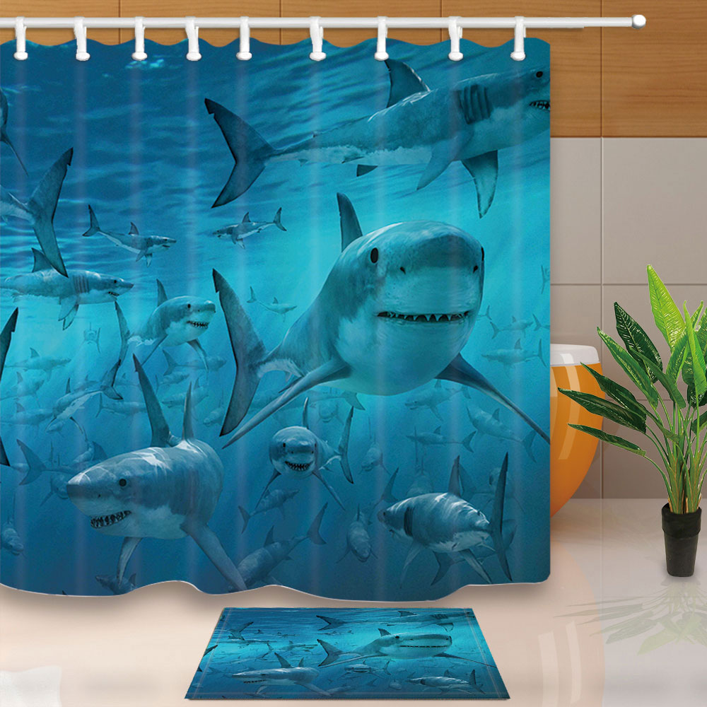 blue shower curtains under the sea shark bathroom curtains simple style polyester fabric waterproof mildew proof with 12 hooks