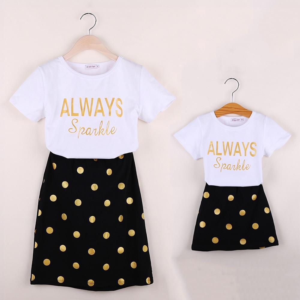 HE Hello Enjoy Mother Daughter Matching Clothes Sets Kids 2019 Short Sleeves Dot T shirt Skirts
