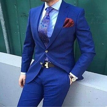 Fashion High Quality Royal Blue Men Business Suits ( Jacket+Pants ) Groom Suit Blue Mens Suits Wedding Groom Tuxedos For Men