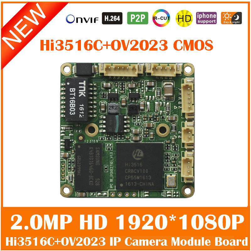 Hd 1080p 2.0mp Hi358E + ov2023 Cmos Ip Camera Osd Meny H.264 Onvif Övervakning Säkerhet Reparation webbkamera Diy Freeshipping Hot Sale