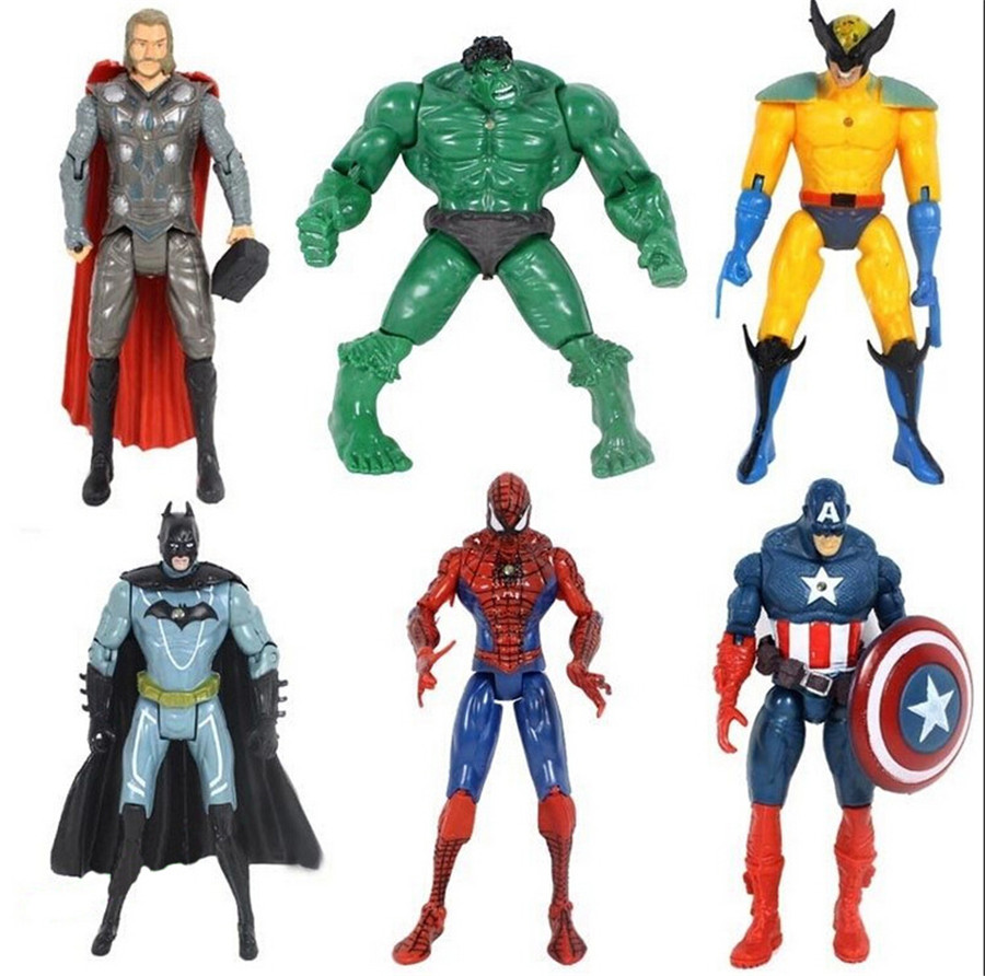 6Pcs/Lot The Avengers Action Figures Super Hero Disney Toy Children Doll Hulk Captain America Superman Batman Iron Man Gift