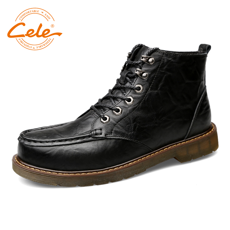 CELE Men Shoes Genuine Leather Boots Large Sizes Winter Warm Shoes Clear Rubber Nonslip Outsole new men winter boots plush genuine leather men cowboy waterproof ankle shoes men snow boots warm waterproof rubber men boots