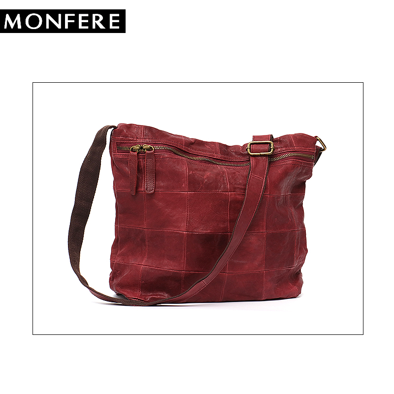 1057384549b9 Aliexpress.com Buy MONFERE Vintage Handmade Ladies Bags Women Block  Patchwork Leather Handbags Genuine Leather ...