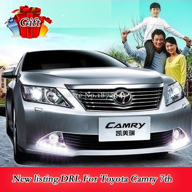 6 LED Car styling DRL with turning signal For Toyota Camry 7th 2011-2013 Daytime running lights Fog lights High quality