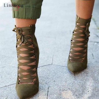 New Fashion Women Suede Ankle Zipped Boots Gladiator Pointed Toe Pumps Women Lace-up High Heel Short Boots