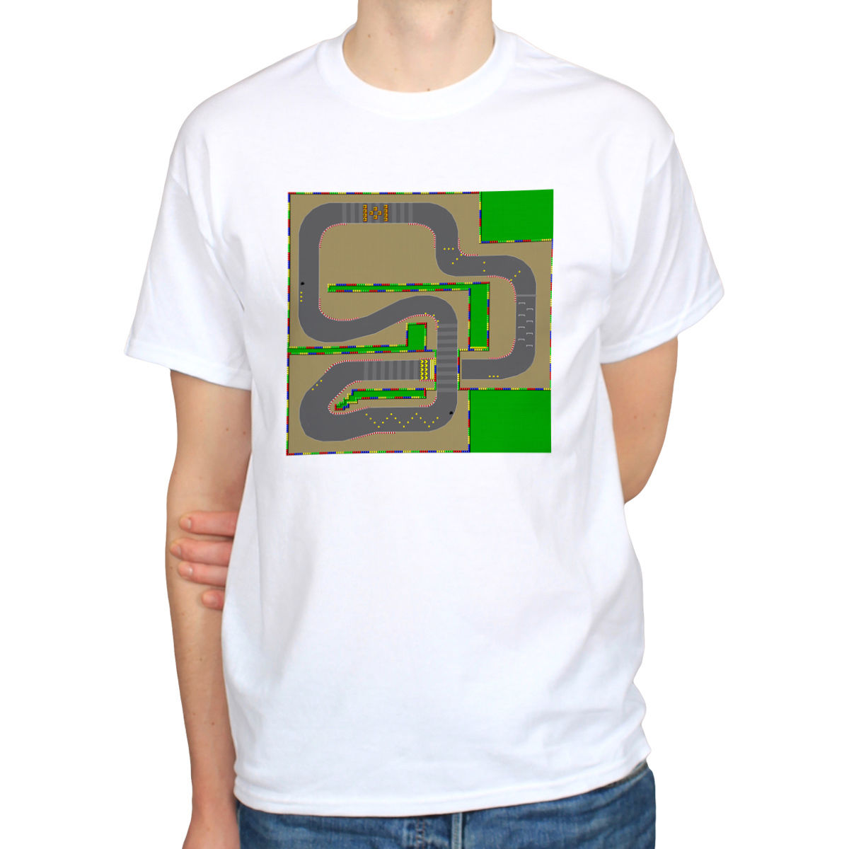 Super Mario Kart Track Retro Racing NES SNES Gaming Map White T-Shirt Male Best Selling  ...