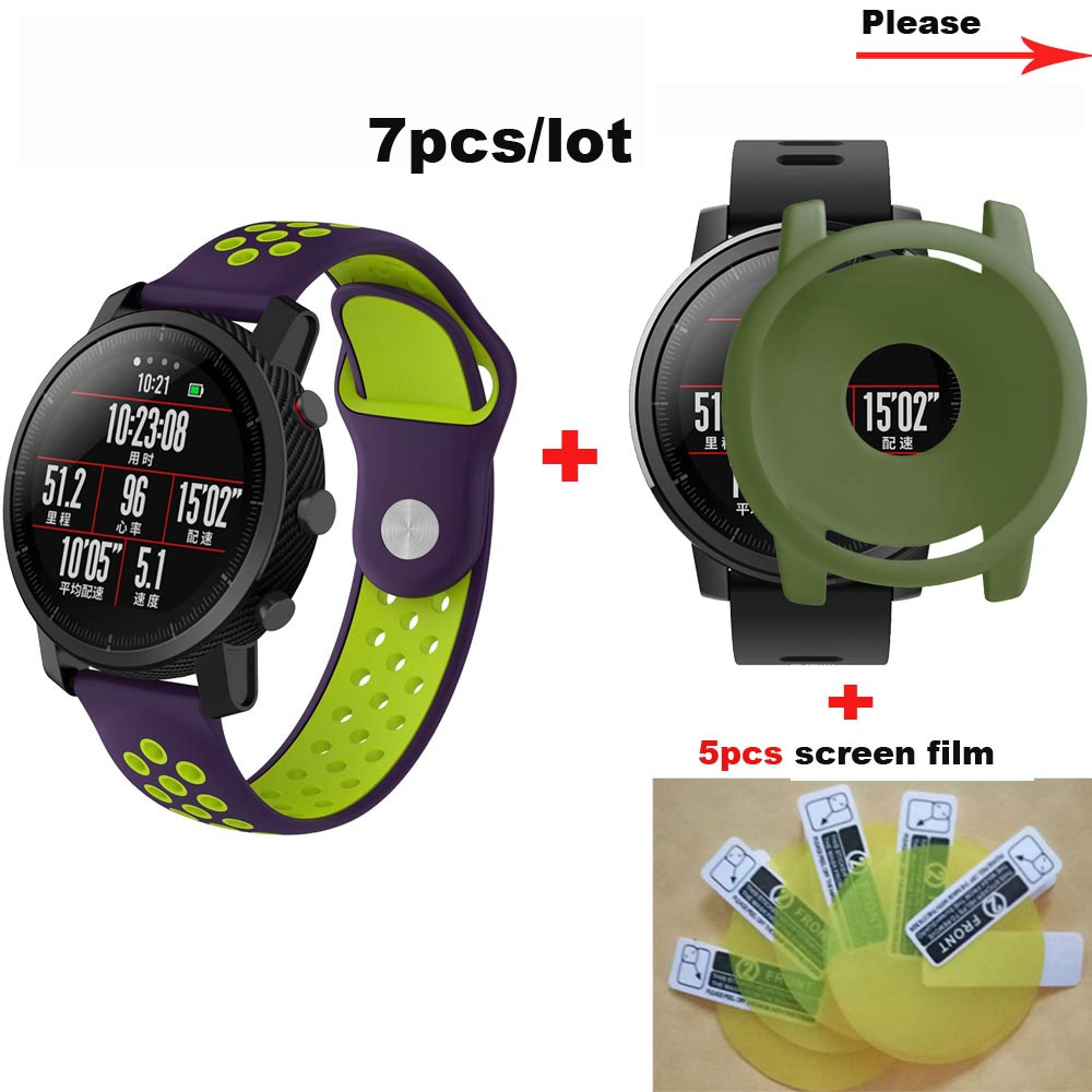 7/lot Amazfit Stratos 2 Strap 22mm Silicone Bracelet for Xiaomi Huami Watch Band Protective Cases Screen Films