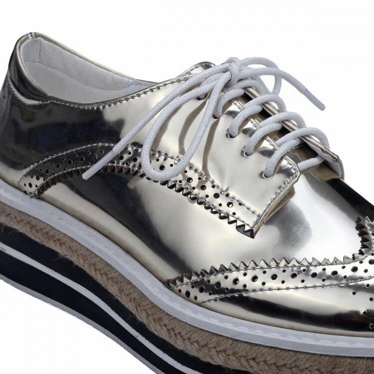 98cd1377 € 74.19 |Oro / plata diseño de marca 2016 moda mujer zapatos con cordones  para mujer de cuero de grano completo dedo del pie cuadrado zapatos de ...