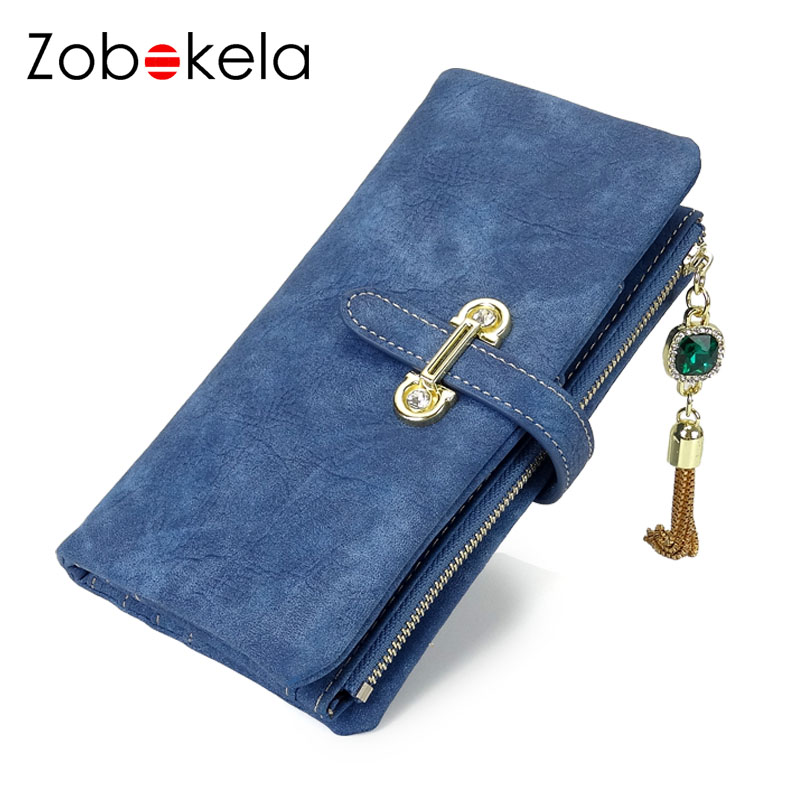 ZOBOKELA Women wallet Nubuck Leather Wallet female coin purse card holder Tassel Women Clutch Wallets Money