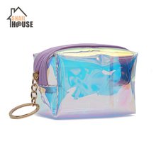 Snailhouse Fashion Laser Coin Purse Bag Square Transparent Clear Pouch Purses Mini Makeup Change Key Storage Girl Bags