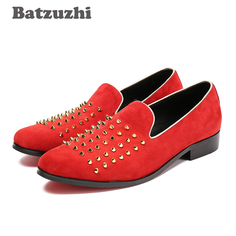 Batzuzhi Fashion Italian Style Men Shoes Flats Roafers Red Shoes Men with Rivets Red Suede Leather Causl Shoes Men Zapatos