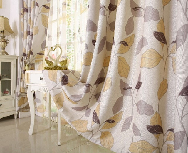 Modern Fashion Warm And Cozy Atmosphere Leaves Pattern Printed Custom Made Tulles Sheer Curtains Decorative Shading