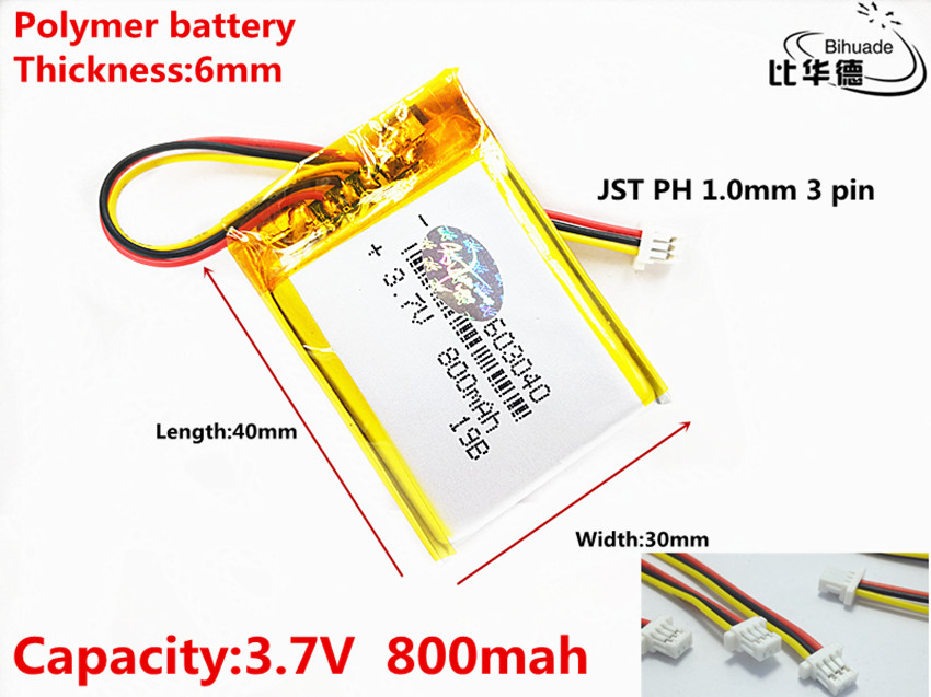 JST PH 1.0mm <font><b>3</b></font> <font><b>pin</b></font> Good Qulity <font><b>3.7V</b></font>,<font><b>800mAH</b></font> 603040 Polymer lithium ion / Li-ion battery for tablet pc BANK,GPS,mp3,mp4 image