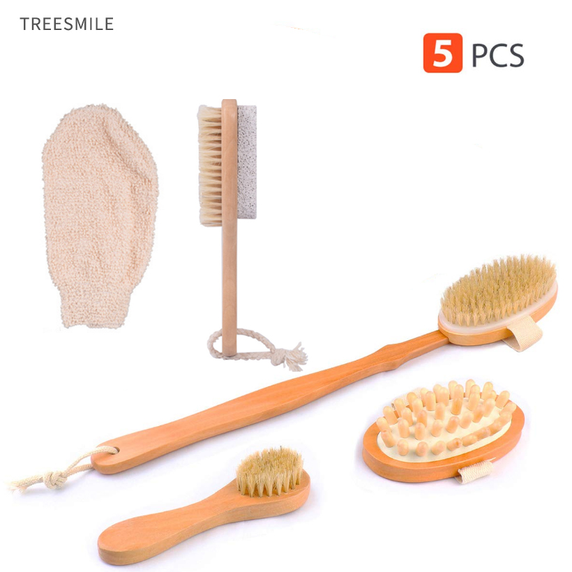 TREESMILE Wooden Bath Brush Long Handle Wooden Back