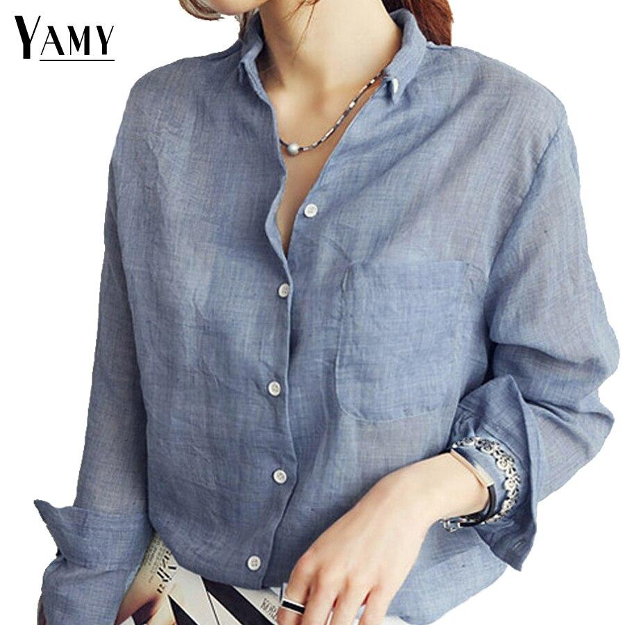 2017 Spring White Long Sleeve Pocket Linen Shirts Womens