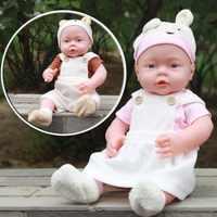 41CM Baby Kids Reborn Baby Doll Soft Vinyl Silicone Lifelike Sound Laugh Cry Newborn Baby Toy for Boys Girls Birthday Gift