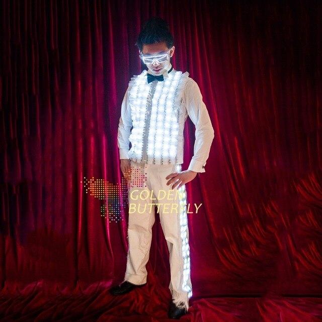 Veste de lumière LED illuminée LED lumineuse brillant vêtements de mode vêtements de mariage hommes Costumes Costumes de danse accessoires